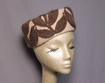 Cream and Brown Mohair Vintage Hat