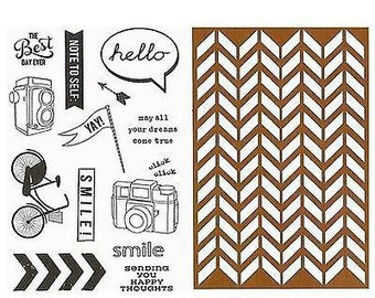 "Vintologie HELLO Stamp & Stencil set 6"" x 4"" by Hampton Art Note to Self Camera Bicycle Bike - SC0641 NEW cc02"
