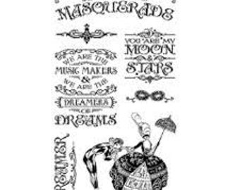 Graphic 45 MIDNIGHT MASQUERADE 1 Cling Stamps IC0383S cc55