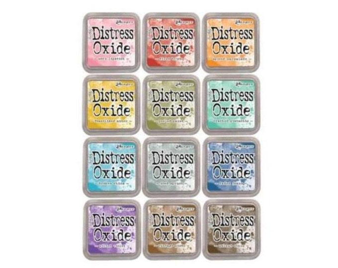 Featured listing image: Tim Holtz Distress Oxide Ink pads 3x3 in All 12 Colors (Spring 2017 Release) SET #1 (Rose Pkg) 1.cc63
