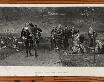 """1872 Steel Engraving """"Edward II and Piers Gaveston"""" 7x12 by Marcus Stone"""