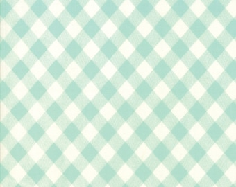 LAST 17 INCHES Moda Vintage Picnic Gingham in Aqua Fabric by Bonnie and Camille Basics for Moda Fabrics