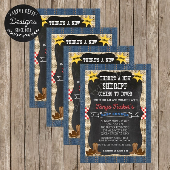 Sheriff Baby Shower Invitation - Lil Sheriff in Town Baby Shower - Sheriff Baby Shower - Country Western Baby shower Invite - DIY Printable