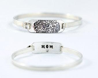 Fingerprint Jewelry, Fingerprint Bracelet - Fingerprint Tension Sterling Silver Bracelet - Memorial fingerprint jewelry