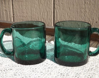 Vintage Set of 2 Teal Coffee Mugs/Blue-Green Glass Mugs/Home and Living/Kitchen and Dining/Drinkware/Made in USA/Retro