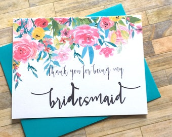 Bridesmaid Thank You Card - Floral Thank You For Being My Bridesmaid - Wedding Thank You Card-  Wedding Card - Bridesmaid Card - WILDFLOWERS