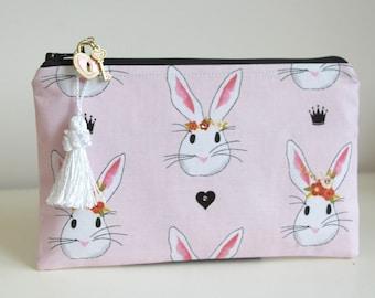 Valentines Bunnies Pencil Case Organizer Jewelry Pouch