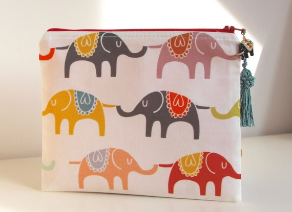 Elephants Pencil Case Organizer Jewelry Pouch