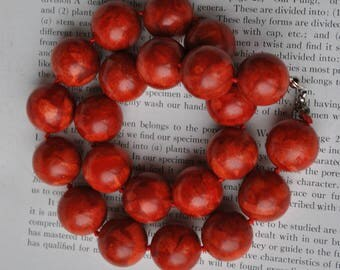 Vintage Sponge Coral Necklace - 1970s Round Red Coral Bead Necklace