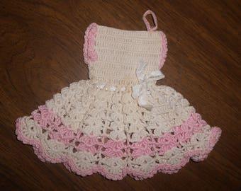 Crocheted Vintage Potholder/White w/Pink Girl's Dress Potholder