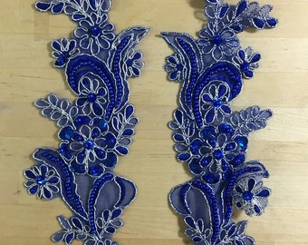 Royal Blue Beaded Appliques, with silver metallic threading Beaded Applique Lace Pair, for Lyrical Dance, Ballroom Dance, Costumes, Bridal,