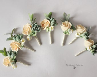 Wedding Boutonniere Grooms Button hole Rustic Groomsman Boutonniere Peach Rose Wedding boutonniere Succulent Boutonniere Clay flowers