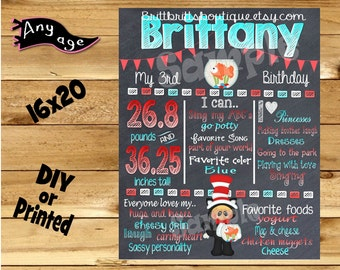 First Birthday Chalkboard 1st birthday hat n cat boy or girl chalk board photo prop customized first birthday poster digital file or printed