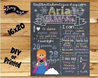 first Birthday Chalkboard 1st birthday ice princess sister chalk board photo prop customized first birthday poster digital file or printed