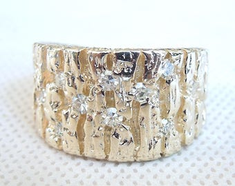 Wide Men's 18K Yellow Gold Textured Ring with Diamonds
