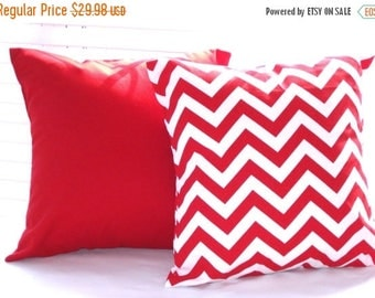 """CLEARANCE Pillow Covers, Pillows, Solid Red Pillow, Red Chevron, Decorative Throw Pillows, Decorative Pillows, Throw Pillows, 2 - 16"""" x 16"""""""