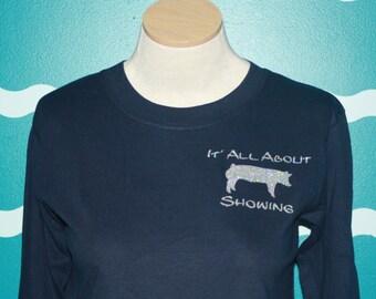 Show pig crew sweatshirt - Livestock show girl plus size sweatshirt - show hog crew sweatshirt - Livestock show plus size shirt