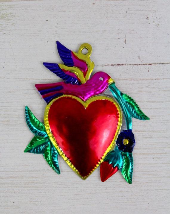 Large handmade mexican tin ornaments heart sacred