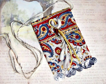 Earthy Bohemian Pouch, Cross-body Boho Bag, Cotton India Tapestry Hip-Bag, Small Cell Phone Case,Small Women's Pouch, BloomingGoddess