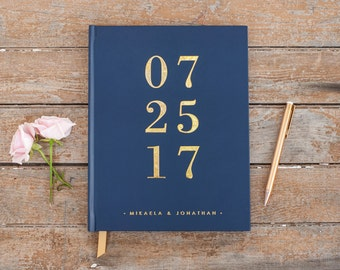 Gold Foil Wedding Guest Book Navy guestbook custom navy guest book album personalized instant photo wedding guestbook sign in hardcover new