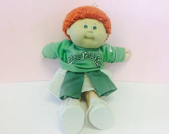 Vintage Cabbage Patch Kid Doll, 1980s Cabbage Patch, Cheerleader Doll, Green and White Cheerleader Outfit, CPK, Dolls,1980s Toys,Collectible