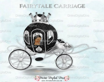African American Little Prince Carriage Coach Black & Silver Crown | Clipart Instant Download