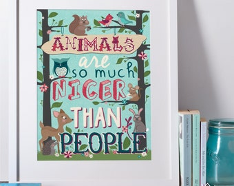 Woodland Animal Art Print