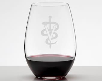 DVM Veterinarian Gift, Custom Etched Stemless Wineglass, Vet Tech, Veterinary Office