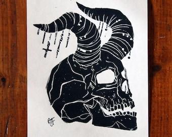 Gothic Demon Skull Lino Print