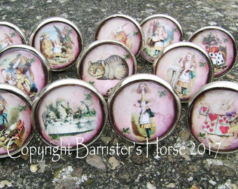 ALICE in WONDERLAND 38mm Drawer Knobs, Cabinet Pulls, Furniture Handles, Silver Metal