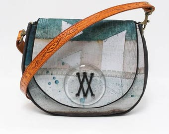 Handbag with shoulder strap with leather - woven greenhouse Collection
