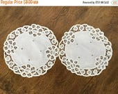 """SALE Pair of Battenberg doilies, white, machine embroidery, 9 1/2"""""""
