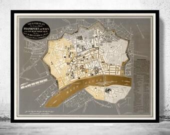 Old Map of Frankfurt Germany 1844
