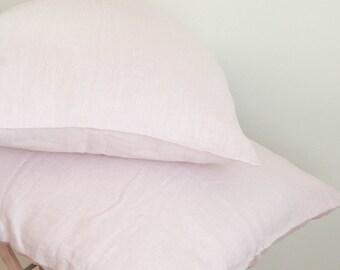 Pink Linen Pillow Sham Natural Linen/ Pastel Pink Linen/ Softened Linen