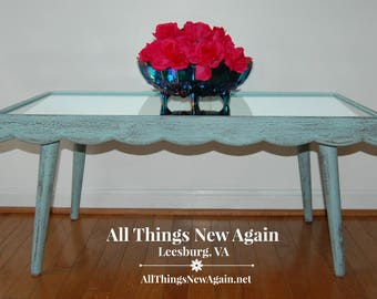 Shabby Coastal Coffee Table with Mirror Top