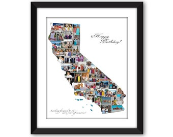 California CA State Maps USA America US American Wedding Vacation Honeymoon Destination Travel Photo Collage Wall Art Digital Printable
