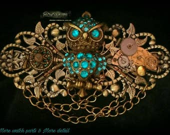 Steampunk Hooters entwined owl barrette hair clip