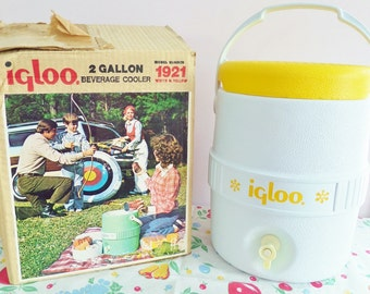 Mid Century Igloo Cooler and Water Dispenser - Retro Camping and Picnic with Seat, Spout, and Food Tray - 1970s - Original Box