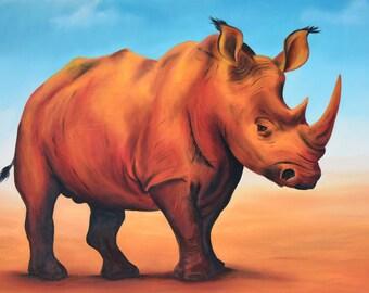 Sunset Rhino - Original Oil Painting