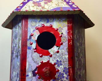 Ornamental Purple Washi Wooden Birdhouse