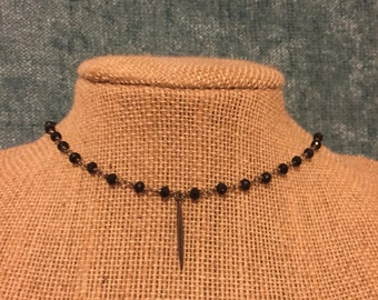 Gunmetal Spike Drop Choker/Necklace
