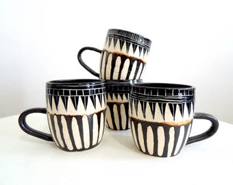 Striped black and white ceramic mug