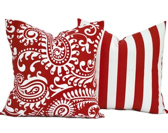 2 Red pillow covers, 1 paisley and 1 striped, cushion, decorative throw pillow, Red pillow, accent pillow, pillow case