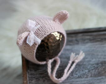Newborn Props//Newborn Baby Girl Pink Bear Hat With Bow//Newborn Bear Hat//Photography Props//Knitted  Bonnet//Baby Gift//Newborn Hat/Animal