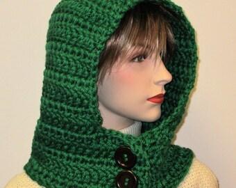 Kelly Green Crochet Hooded Cowl Neck Hoodie, Crochet Hooded Scarf, Hoodie Scarf, Hooded Scarves, Scoodie Scarf, Hat Scarf, Caroline B6-119