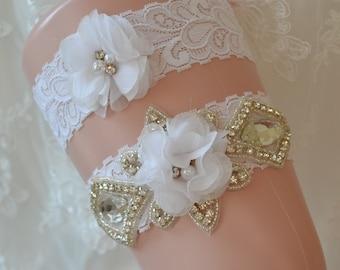 White  Bridal Garter, Wedding Garter Set, White Lace Garter,  Something Blue Garter, White Chiffon Flower And Rhinestone Embellishment