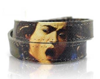 "Caravaggio ""Medusa"" Handmade Canvas Bracelet, Women Bracelet, Women's Bracelet, Canvas Painting, Men's Bracelet, Art Jewelry, Mens Bracelet"