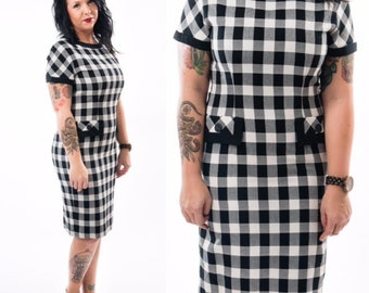 Vintage 60's Inspired Black and White Checkered Pencil Dress / Plaid / Leslie Fay / Size Medium