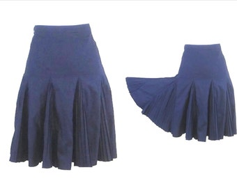 PLEATED CIRCLE SKIRT,  Circle skirt, Vintage skirt, dark blue skirt, vintage clothing, 80s retro skirt, womens skirt, EuropeanRetroFashion