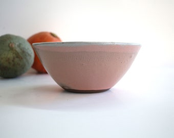 bowl coral pink and white ceramic, handmade